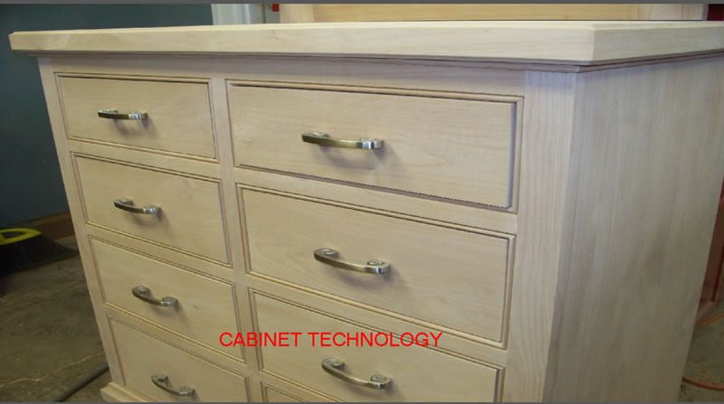 Close up of Dresser Drawers made with Sommerfeld Tools for Wood cabinetmaking tools.